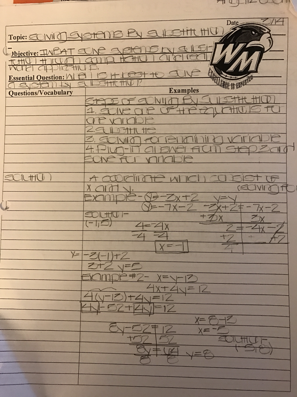 3 samples of cornell notes